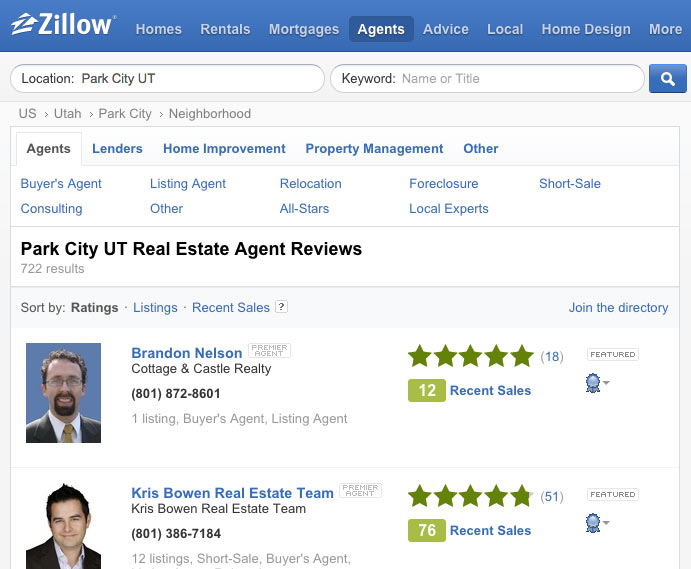 Best places to find park city real estate agent reviews for Zillow site