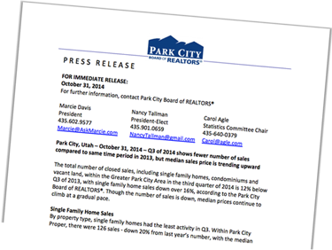 Park City Board of Realtors Press Release