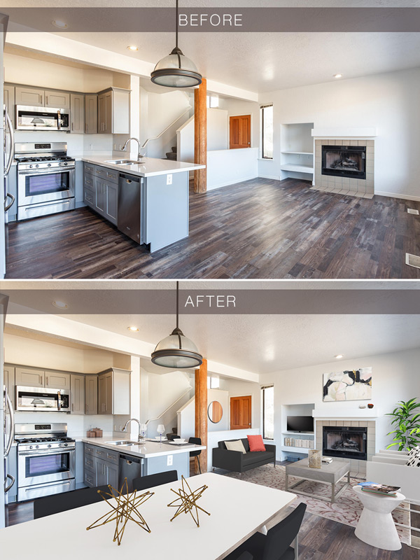 Virtual Staging, Living Room Staging A House Before And After